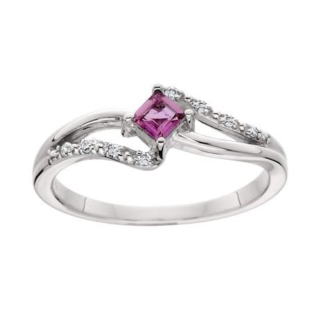 Created Pink Sapphire Diamond Ring
