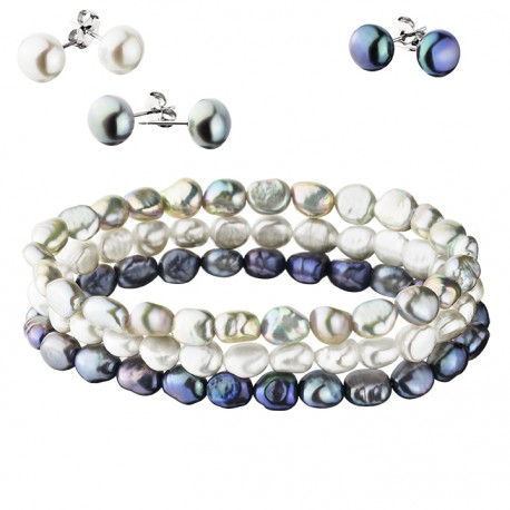 3 Pearl Earrings with 3 matching Bracelets