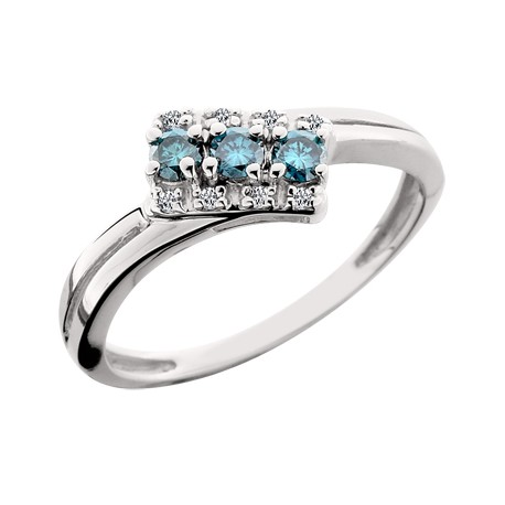 Ladies Three Blue Diamond Ring