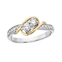 C2 14k two tone Reg $1200.00 Side by Side 1/4ctw ring