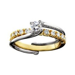 Two tone Diamond on Diamond Wedding Set
