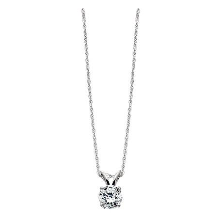 A17W 14k white gold .16ctw Diamond Solitiare necklace