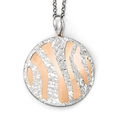 QLF580-16 Leslies Sterling Silver Rose-tone Diamond cut with 2in ext. Necklace