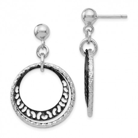 L308 Leslies Sterling Silver Ruthenium-plated Post Dangle Earrings