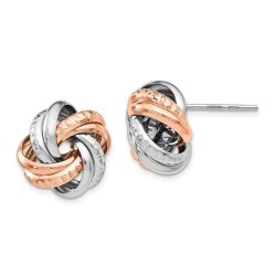 QLE1028 Leslie's Sterling Silver Rose Rhodium-plated Post Earrings