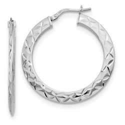 QLE1168 Leslie's Sterling Silver Polished and D/C Hoop Earrings