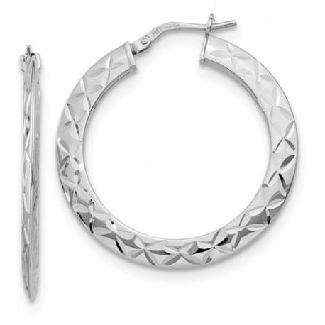 QLE1168 Leslie's Sterling Silver Polished and D/C Hoop Earrings