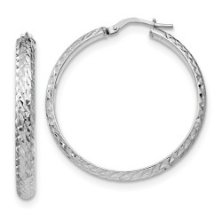 QLE1170 Leslie's Sterling Silver Polished and Textured Hoop Earrings