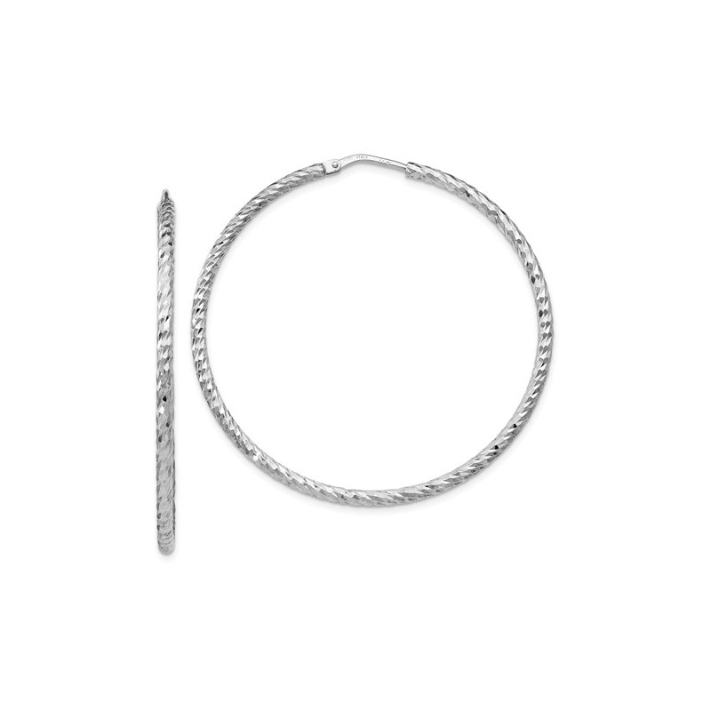 Qle185 Leslies Sterling Silver Diamond Cut Endless Hoop Earrings