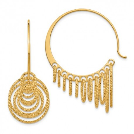QLE230 Leslie's SS and Gold-plated Polished and Laser-cut Hoop Earrings