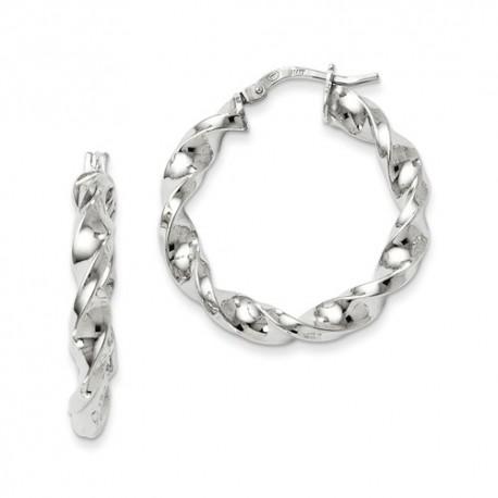 QLE269 Leslie's Sterling Silver Polished Twisted Hinged Hoop Earrings