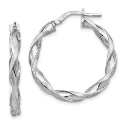 QLE979 Leslie's Sterling Silver Polished and Scratch-finish Twisted Hoop Earrings
