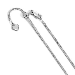 FC27-22 Leslie Sterling Silver 1.45 mm Diamond-cut Adjustable Wheat Chain