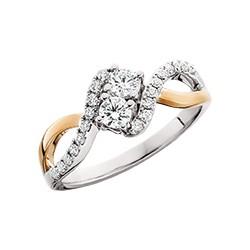 C17 Side by Side 14k gold .25tdw diamond ring.  Reg 1200.00