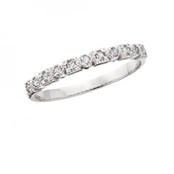 C118 10K white gold round and square stackable band ring.  .08tdw  Reg $450.00