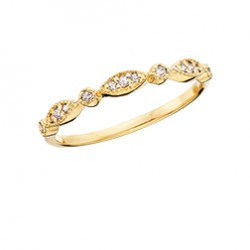 C119 10K yellow gold round and marquise stackable ring .09tdw  Reg $450.00