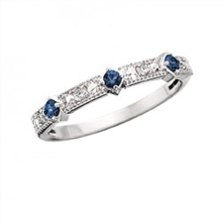 C121 10K white gold round and rectangluar design with round Sapphire and .04tdw stackable ring   Reg $450.00
