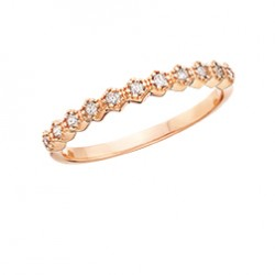 C122 10K rose gold Hexigon design with round diamonds .08tdw stackable ring   Reg $450.00