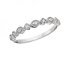 C124 10K white gold round and marquise design with round diamonds .09tdw stackable ring   Reg $450.00
