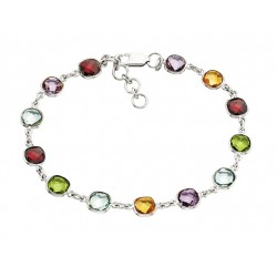 C150 Sterling Silver Multi color cushion colored stone bracelet   Reg 225.00
