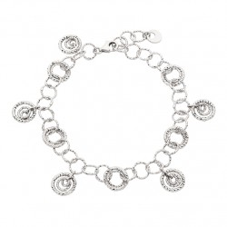 D71 Italian Sterling Silver diamond cut circle bracelet Reg $210.00