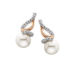 D76 Sterling Silver Pink plate with pearl and .04tdw Diamond earrings. Reg $195.00