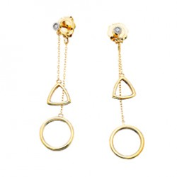 E6 10KY GEOMETRIC DROP EARRINGS .03TW