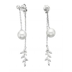 E67 SS PRL DROP EARRINGS