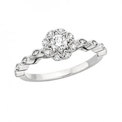 G49 14KW FLORAL ENG RING .09TW+1/4CTR